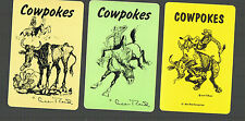 """Playing  SWAP  Cards 3  GENUINE  VINTAGE  """" COWPOKES"""" COWBOY HORSES COW  #132"""