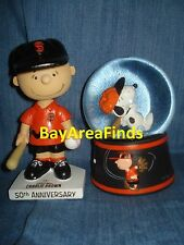 San Francisco Giants Peanuts Charlie Brown Bobblehead & Snoopy Snow Globe SF