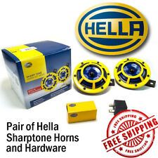 Hella Sharptone Horn Kit 12V 415/350Hz Yellow Includes Relay, 2 Horns Genuine