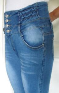Damenjeans, Jeansröhre, High-Waist-Jeans, Stretchhose, COLOR 3 Gr.S/M blau NEU
