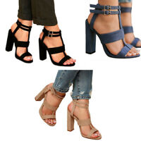 Women Buckle Block High Heels Sandals Open Toe Ankle Strap Party Club Shoes New