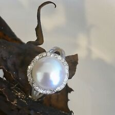 Pearl Ring Sterling Silver with Cubic Zirconia feature  BRAND NEW