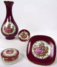 Antique Limoges FRANCE Rehausse Mini Vanity Bud Vase Tray Trinket Snuff Box Set