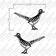 "Roadrunner Road Runner New Mexico Bird Set of 2 8.9""x6"" BLACK Decal Stickers"