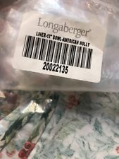 """LONGABERGER FABRIC LINER For 13"""" Bowl Basket- AMERICAN HOLLY -NEW"""