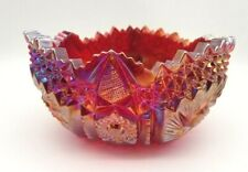 Vintage LE Smith Red Iridescent Bowl Whirling Star Saw Tooth Carnival Glass