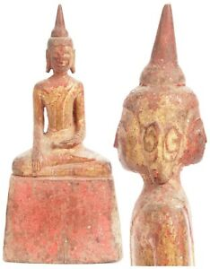 Unusual Antique Wooden Thai Siam 2 Faced Double Faced Buddha Thailand Wood