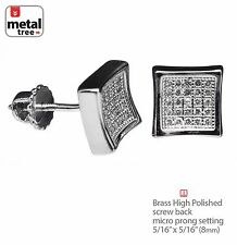 Hip Hop Fashion Square Silver Plated Pave CZ Set Screw Back Earring 996 S