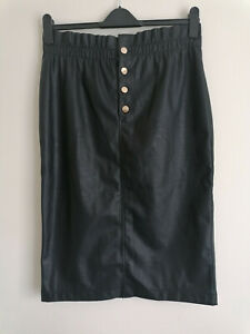 NEW Michelle Keegan Faux Vegan Leather Straight Black Skirt UK 16