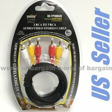 6 ft Long 3 RCA Audio Video A/V Cable Jack Stereo TV DVD VCR VHS Camcorder EL02