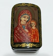 wood lacquer box holy mother child rosary trinket chest Orthodox Christianity