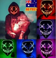 Halloween Mask LED Light Up Purge Glowing Light Costume EL Wire Scary Cosplay AU