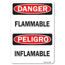 OSHA Danger Sign - Flammable (Bilingual), Vertical   Made in the USA