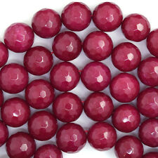 "10mm faceted ruby red jade round beads 15"" strand"