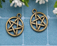 Lot 20pcs two-sided Tibet Bronze Gothic wicca Pentagram Charm Pendants 20x16mm