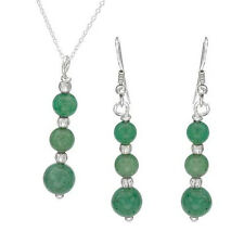 """Aventurine Jewelry Set 925 Sterling Silver Earrings & 18"""" Necklace Free Shipping"""