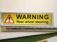 REAR WHEEL STEERING WARNING STICKER