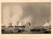 Attack Upon Roanoke Island - Landing of the Troops  -  By A. Chappel -  1878