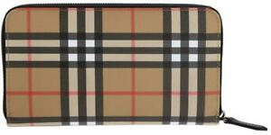 NEW BURBERRY VINTAGE CHECK ZIP AROUND OVERSIZED CLUTCH TRAVEL WALLET