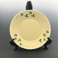 "Bordallo Pinheiro SHAMROCK Portugal Yellow Basketweave 10.25"" Dinner Plate"