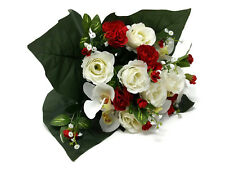 Bouquet of Roses & Carnations x 39cm Red White Artificial Mixed Flowers Bunch