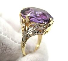 VINTAGE 14K YELLOW & WHITE GOLD LADIES LARGE OVAL AMETHYST COCKTAIL RING SIZE 5