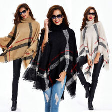 Womens Plaids Turtleneck Tassel Cloak Pullover Cape Poncho Sweater Shawl Coat