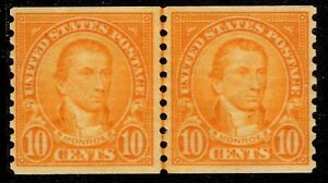1924 US #603 - 10c Monroe Coil Joint Line Pair Mint Never Hinged - SCV $50.00