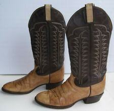 Vintage 1980'S Tony Lama Boots Two Tone Brown Leather 9D