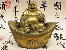 Chinese Brass Copper Happy Maitreya Buddha sit Dragon Phoenix YuanBao Statue