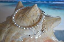 White Pearl Anklet or Bracelet 8 to 9 Inches on Sterling Silver + Heart Charm
