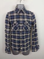 MENS SUPERDRY BLUE/MULTI CHECKED BUTTON UP HEAVYWEIGHT LONG SLEEVE SHIRT S SMALL