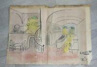 Dejoux Jean dessin original du décor de théâtre pour la pièce Liberty Bar Rareté
