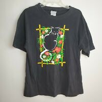 Vintage Hanes Beefy-T Cat Black T-Shirt 90's Single Stitched Men's Large
