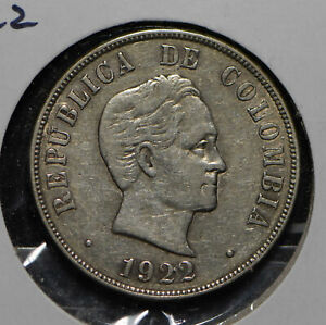 Colombia 1922 50 Centavos silver  290276 combine shipping