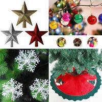 Christmas Xmas Tree Decorations Ornaments Snowflakes Baubles Tree Skirt Apron