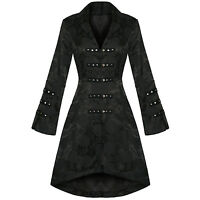 Ladies New Black Gothic Military Satin Steampunk Floral Brocade Jacket Coat