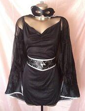 Noir Sexy Bandit Costume Robe longue cape masque ceinture robe fantaisie taille L