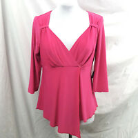 Link Womens Top Size S Pink Cross Over Bust Blouse