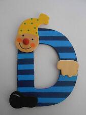 Lettre prenom de porte clown en bois D Bleu f, décoration de porte **