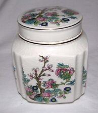 Ginger Spice Jar Canister Covered Trinket Sadler Flowers Indian Tree England Old