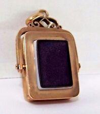 ANTIQUE WATCH FOB BLACK ONYX 12K ROSE GOLD WITH PHOTO WINDOW LOCKET