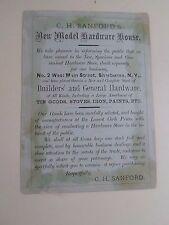 Old Advertising Card C H Sanfords New Model Hardware House Sherburne New York
