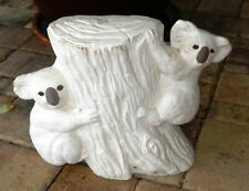 New listing Vintage Two Large Koala Bears Climbing a Tree Stump Ceramic Bisque