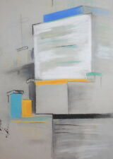 CUBIST PASTEL DRAWING CITYSCAPE