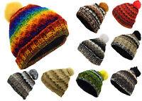 Woolen Knitted Beanie Hats Fleece Lined Winter Pom Pom Nepalese Warm Hippie Caps