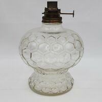 Vintage Clear Glass Oil Lamp Base Honeycomb Hexagonal Pattern