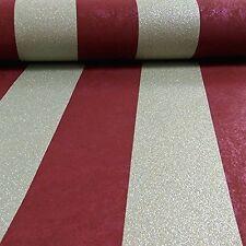 Quilates rojo y oro brillo Stripe Wallpaper pegue The Wall Vinilo 13346-80