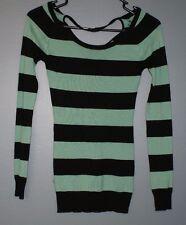 Wet Seal Sweater Shirt Top Long Sleeve Striped Green Black Womens Size XS