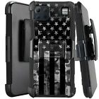 Holster Case For LG K92 5G (2020) Kickstand Phone Cover - GRAY CAMO 1/2 US FLAG